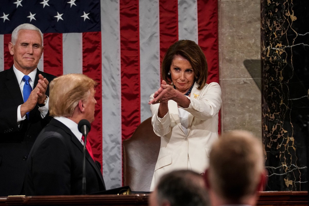 Speaker of the House Nancy Pelosi applauding President Trump during the State of the Union – February 5, 2019. (AP)