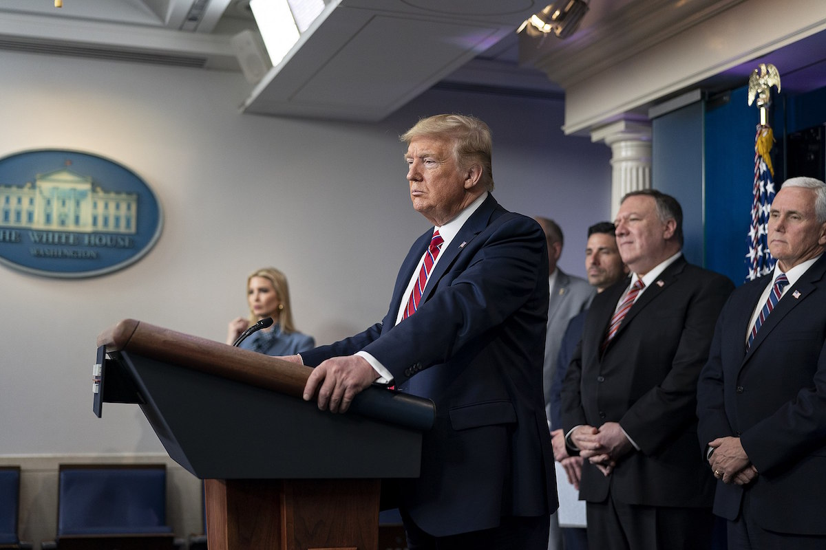 President Donald J. Trump, joined by Vice President Mike Pence and members of the White House Coronavirus Task Force, delivers remarks at a coronavirus (COVID-19) press briefing Friday, March 20, 2020, in the James S. Brady Press Briefing Room of the White House. (Official White House Photo by Shealah Craighead)
