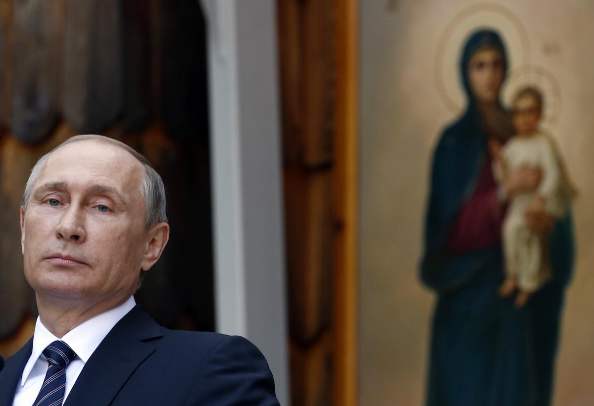 Russian President Vladimir Putin speaks during a ceremony at a Russian Chapel in Kranjska Gora, Slovenia, Saturday, July 30, 2016. (AP Photo/Darko Vojinovic)