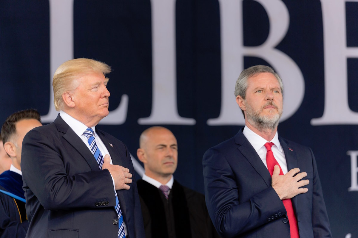 Donald J. Trump delivers remarks at the Liberty University commencement ceremony with Jerry Falwell Jr. at his side – May 17, 2017. (Shealah Craighead/White House)