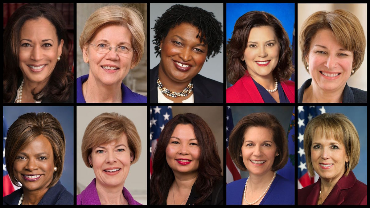 From top left: Kamala Harris, Elizabeth Warren, Stacey Abrams, Gretchen Whitmer, Amy Klobuchar, Val Demings, Tammy Baldwin, Tammy Duckworth, Catherine Cortez Masto, and Michelle Lujan Grisham. (Official Government Photos)
