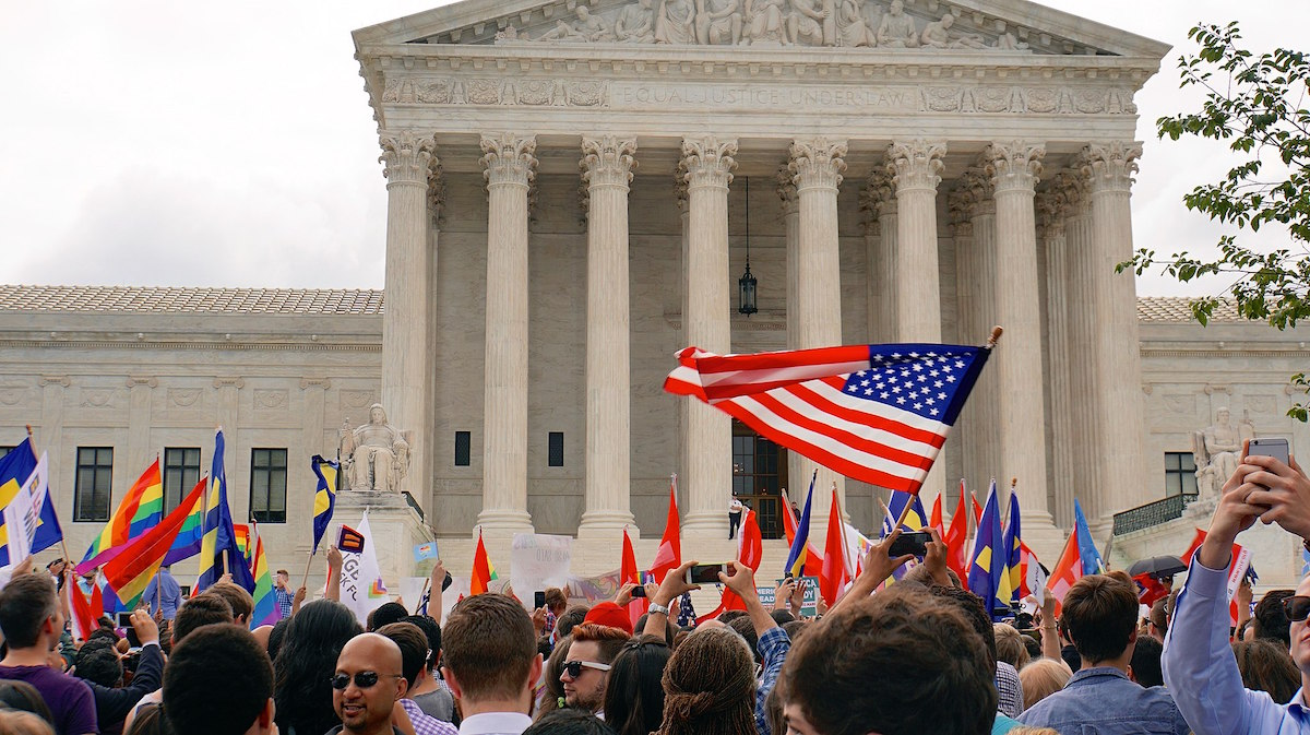 Americans celebrate after the Supreme Court of the United States ended marriage discrimination on June 26, 2015 (tedeytan/ creative commons)