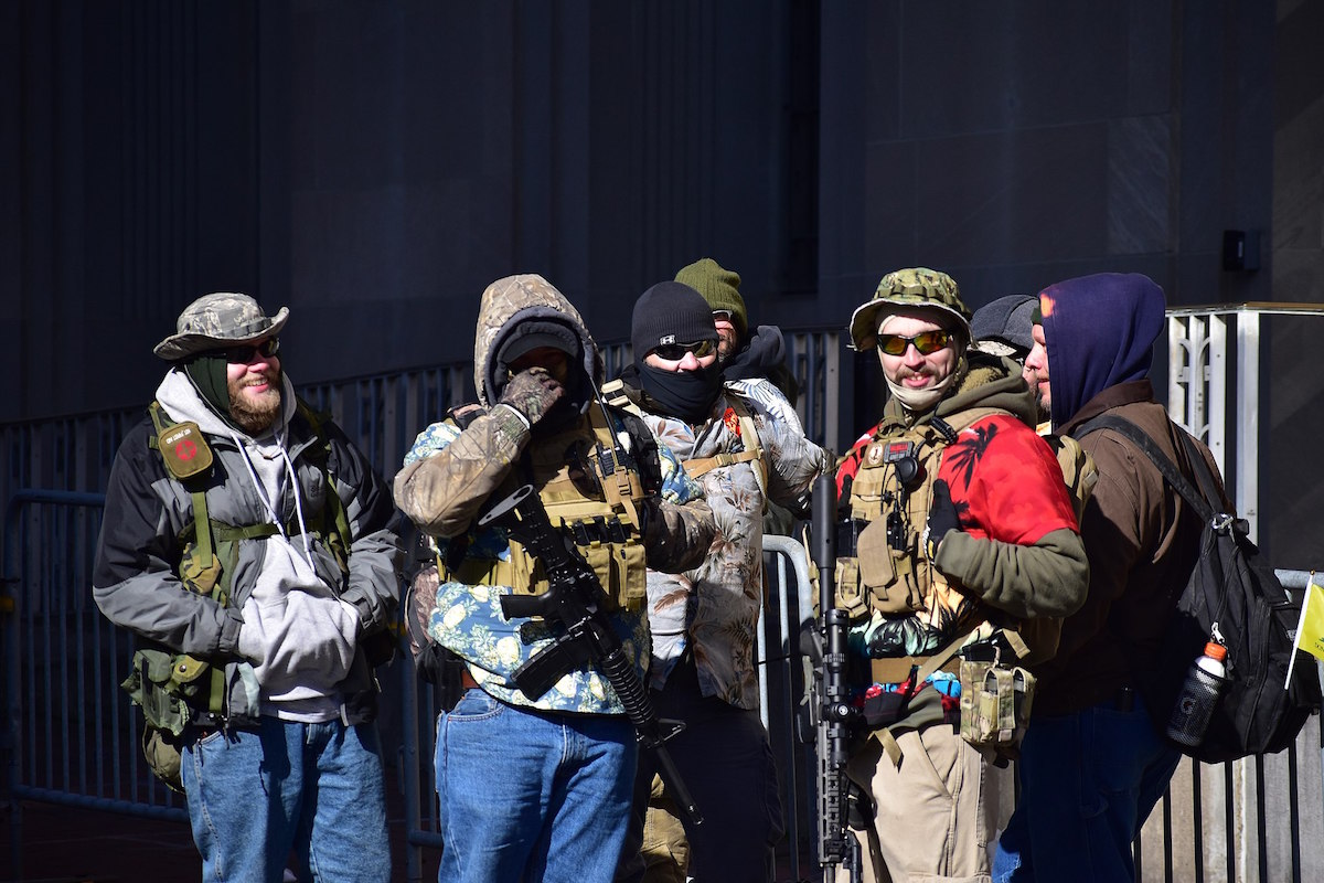 Boogaloo bois at the Virginia 2nd Amendment Rally on January 20, 2020 (Anthony Crider/Creative Commons)