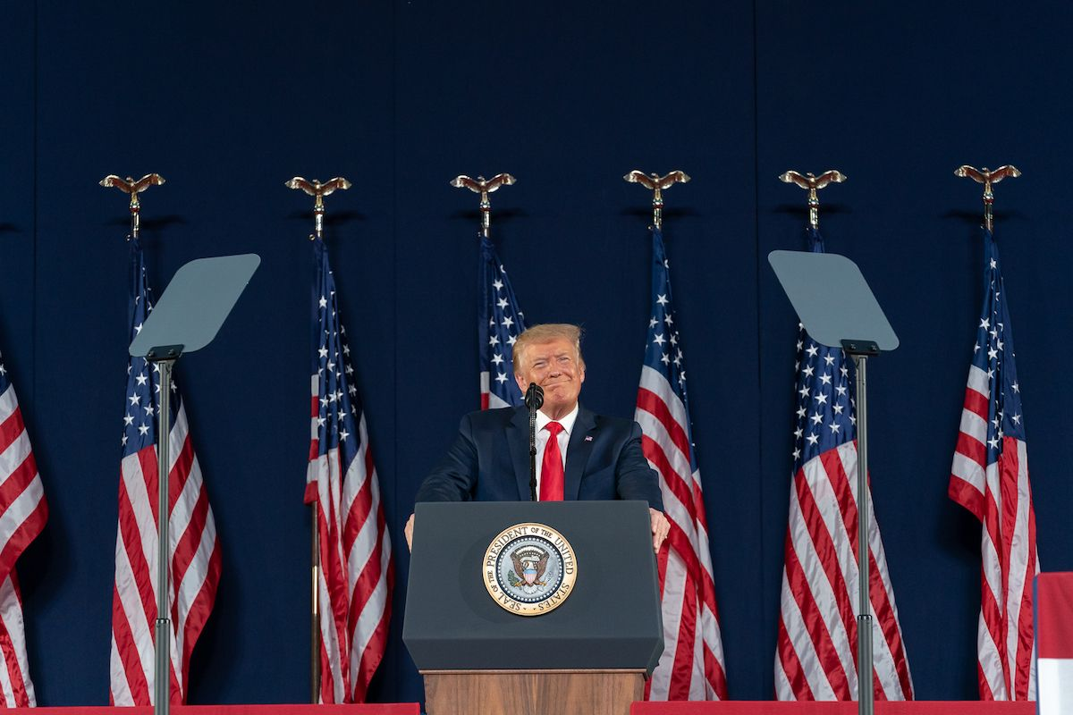 President Donald J. Trump delivers remarks during a Fourth of July celebration Friday, July 3, 2020, at Mount Rushmore National Memorial in Keystone, S.D. (Official White House Photo by Andrea Hanks)