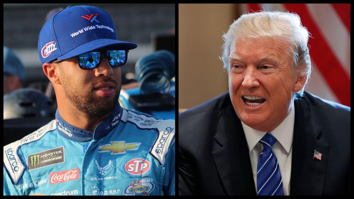 NASCAR Driver Bubba Wallace (Zach Catanzareti/Creative Commons) and President Donald Trump (AP).