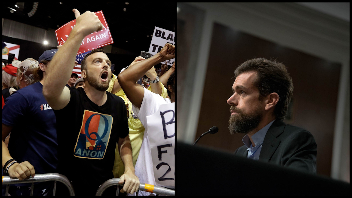 Left: A QAnon supporter shouts own a CNN news crew before a Trump rally Tuesday, July 31, 2018, in Tampa, Fla. (AP Photo/Chris O'Meara). Right; Twitter Co-Founder and CEO Jack Dorsey testifying before the Senate Intelligence Committee – September 5, 2018. (Source: Senator Mark Warner's Team)