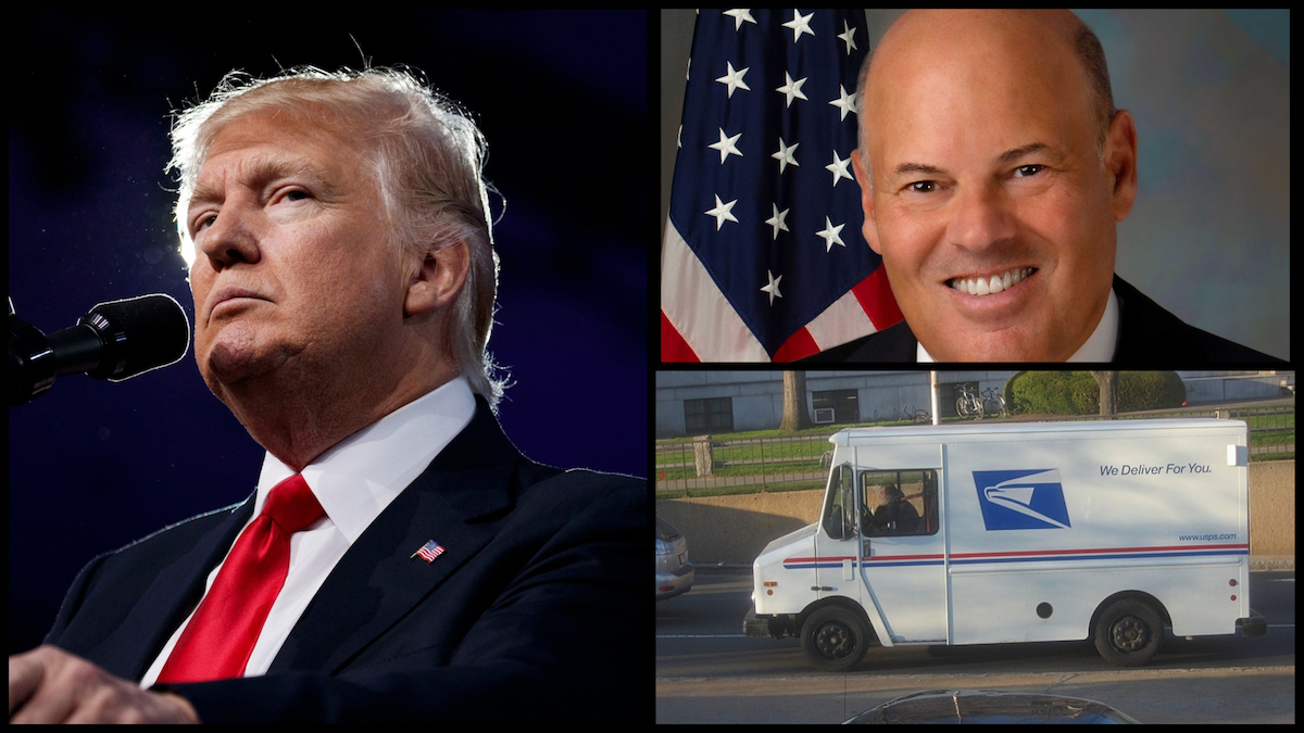 President Donald Trump (AP), Postmaster General Louis DeJoy (Official Photo), and a USPS truck (Creative Commons)