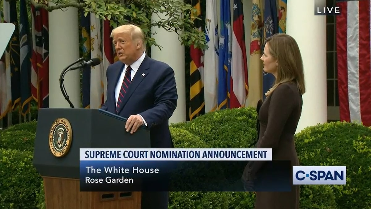 President Trump nominating Judge Amy Coney Barrett to the Supreme Court – September 26, 2020. (C-SPAN)