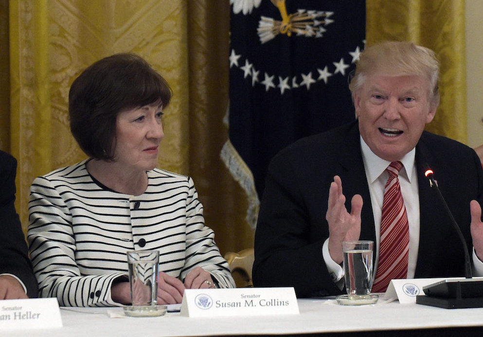 President Donald Trump and Senator Susan Collins during a meeting with Republican senators on health care in the East Room of the White House in Washington, Tuesday, June 27, 2017. (AP Photo/Susan Walsh)