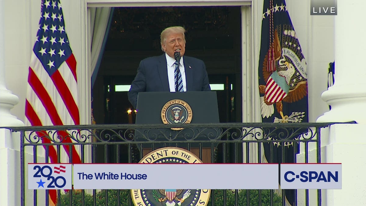 President Trump speaks to supporters gathered at the White House – Saturday, October 9, 2020. (C-SPAN)
