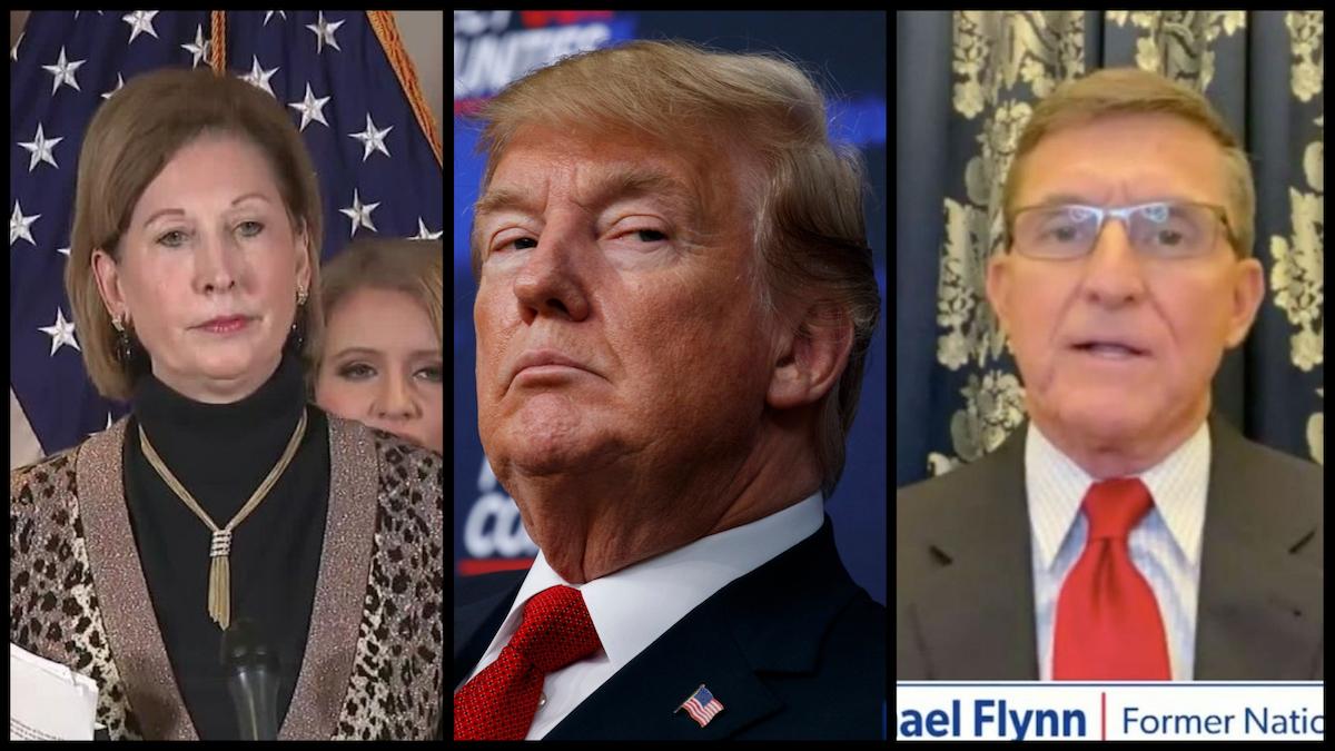 Sidney Powell (C-SPAN), Donald Trump (AP), Michael Flynn (Newsmax).