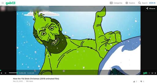 """""""How the Yid Stole Christmas"""" is a cartoon villainizing Jews on Gab TV."""