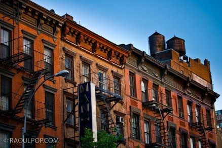 Old apartment buildings near Lincoln Tunnel, Manhattan, New York, USA.