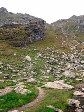 Rocks strewn on the slopes
