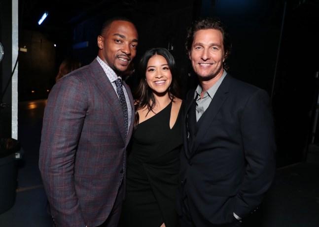 Las Vegas, NV - April 23, 2018: Anthony Mackie, Gina Rodriguez and Matthew McConaughey