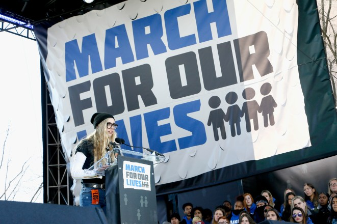 WASHINGTON, DC - MARCH 24: Delaney Tarr speaks at March For Our Lives on March 24, 2018 in Washington, DC. (Photo by Paul Morigi/Getty Images for March For Our Lives)