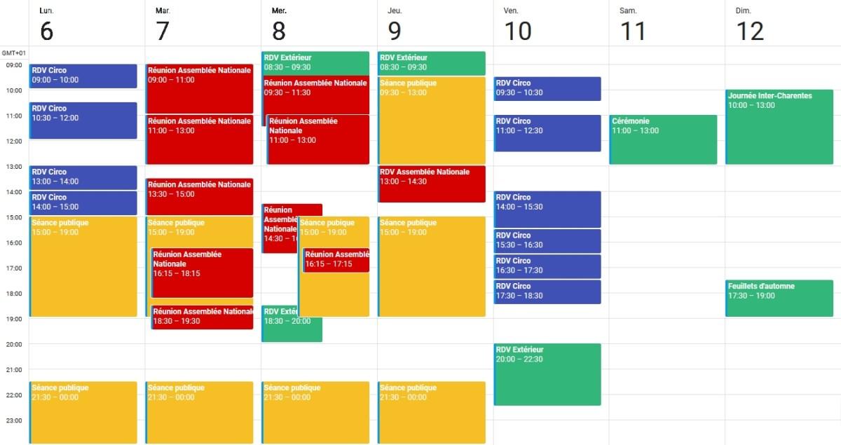 Agenda 6 au 12 nov 2017