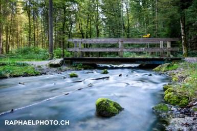 Landschaft Glütschbachtal mit Brücke für Wanderweg