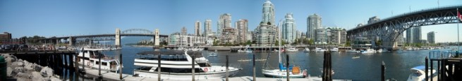 Panoramic View from Granville Island of Downtown Vancouver.