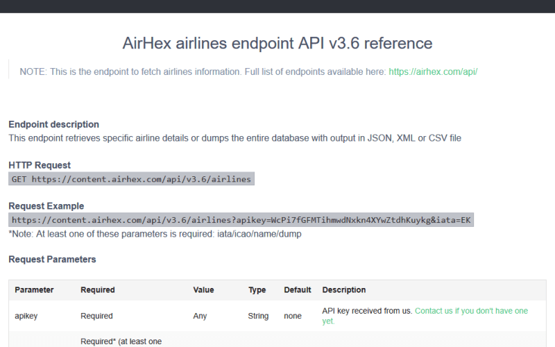 AirHex Airline Names API
