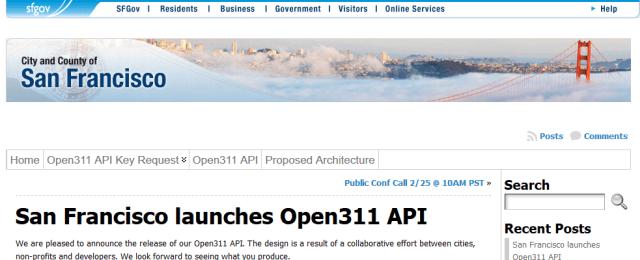San Francisco Open311 API