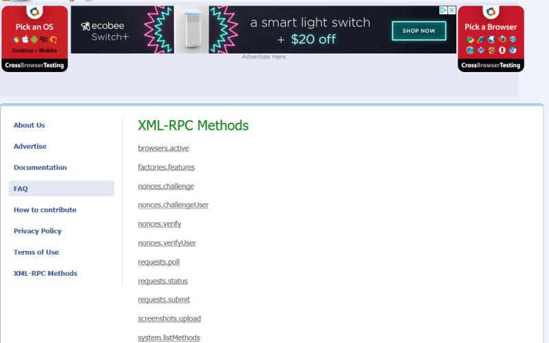 Browsershots API