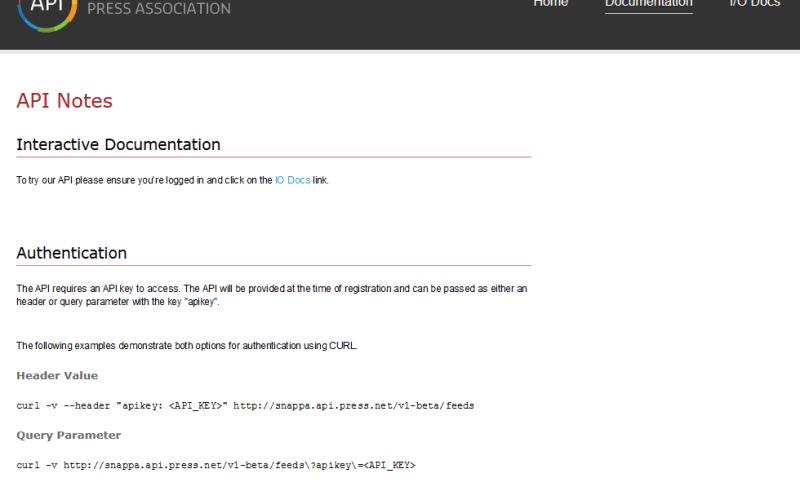 Press Association SNAP.PA API