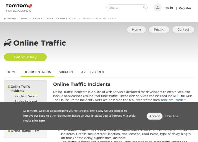 Tomtom Online Traffic Incidents API
