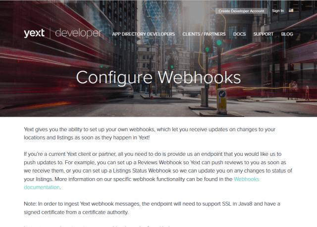 Yext Webhooks API