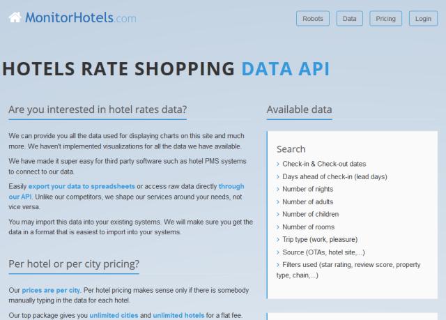 Monitorhotels Rate Shopping Data API