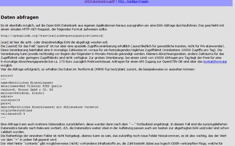 Open EAN/GTIN Database API