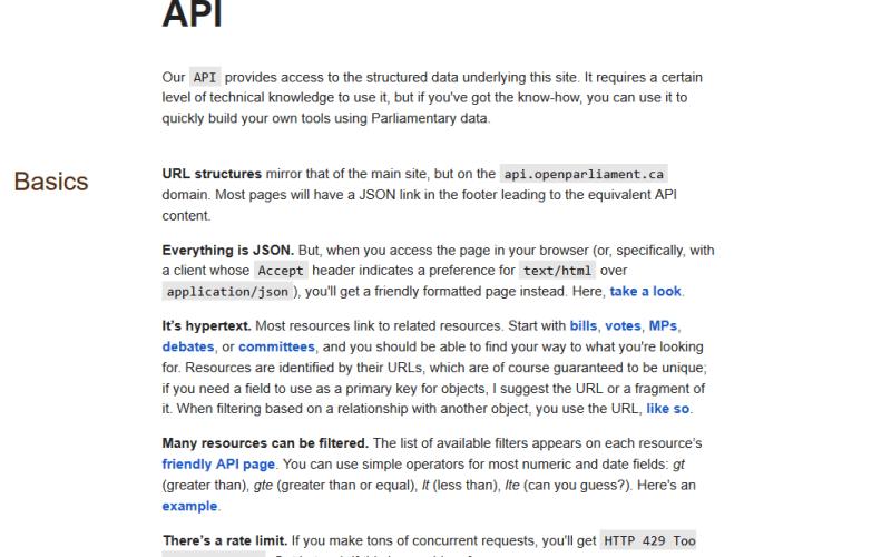 openparliament.ca API