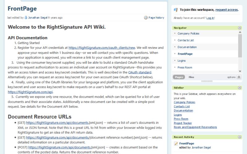 RightSignature API