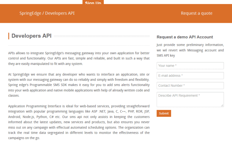 SpringEdge SMS API