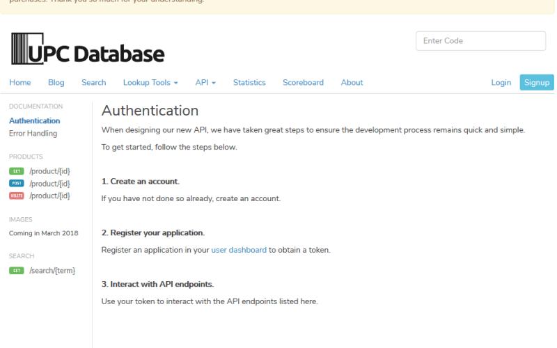 UPCDatabase.org API