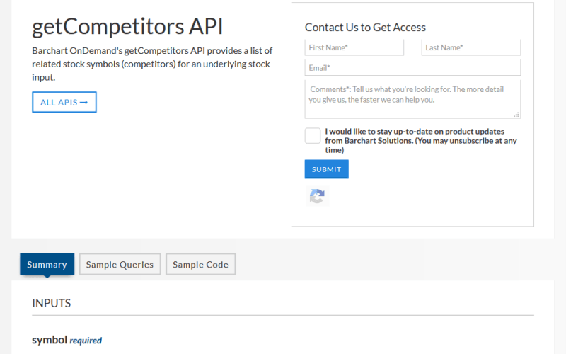 Barchart OnDemand getCompetitors API