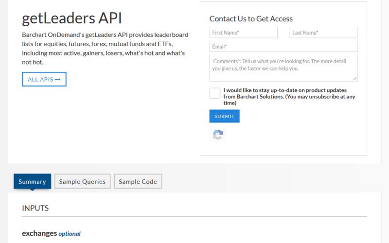 Barchart OnDemand GetLeaders API