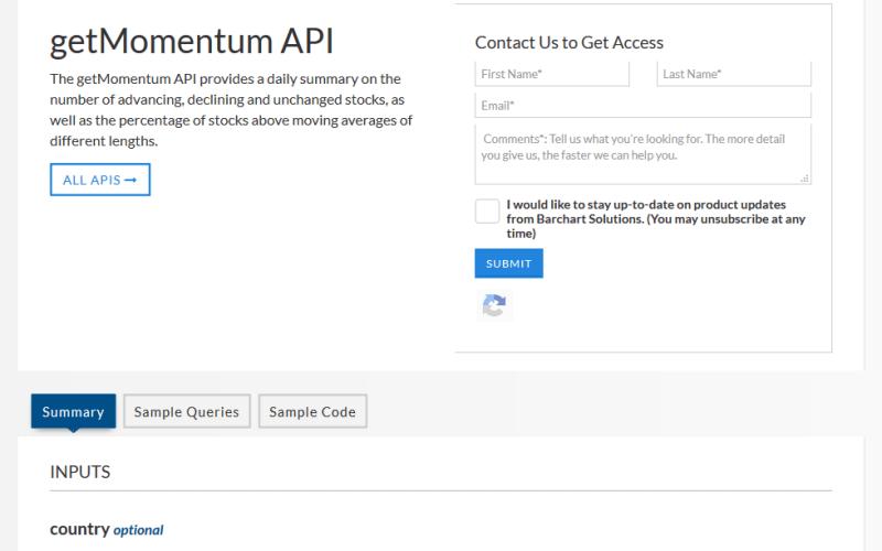 Barchart OnDemand getMomentum API