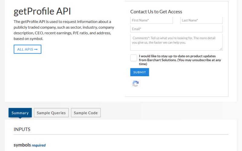 Barchart OnDemand getProfile API