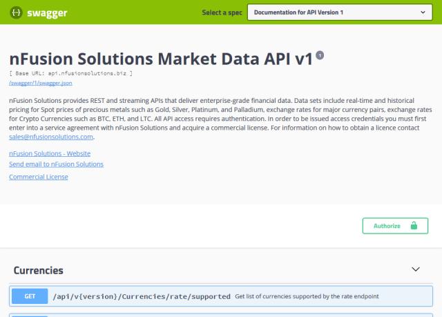 Nfusion Solutions Precious Metals API