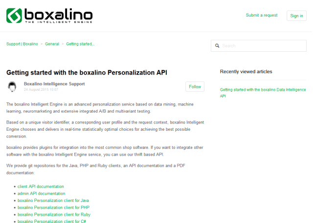 Boxalino Personalization API