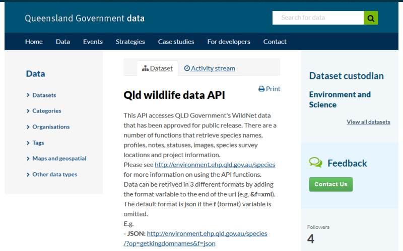 QLD Wildlife Data API