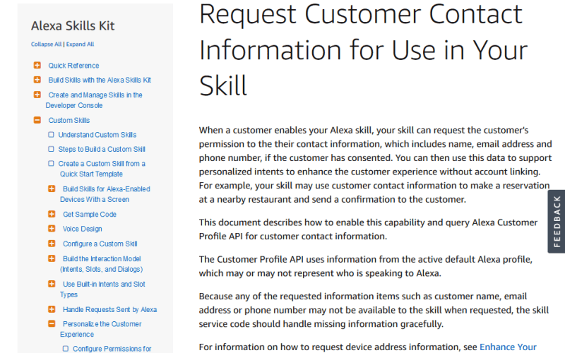 Amazon Alexa Customer Profile API