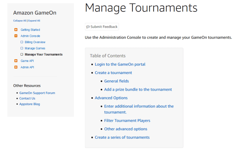 Amazon GameOn Admin Console API