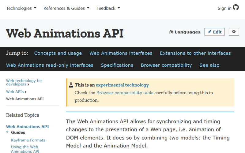 Mozilla Web Animations API