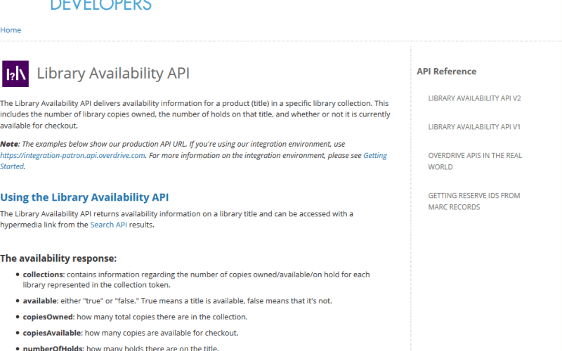 OverDrive Library Availability API