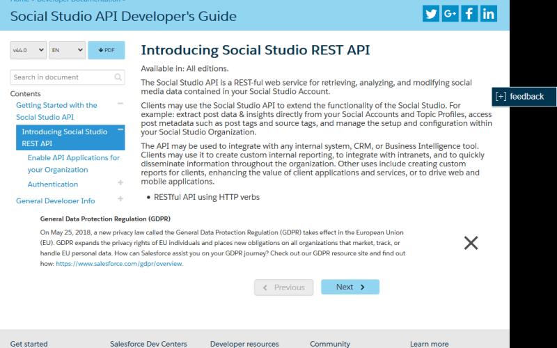 Salesforce.com Social Studio API
