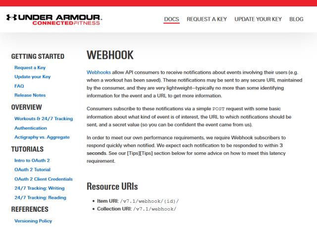 Under Armour Webhooks API