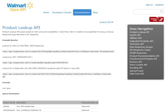 Walmart Product Lookup API