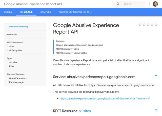 Google Abusive Experience Report API